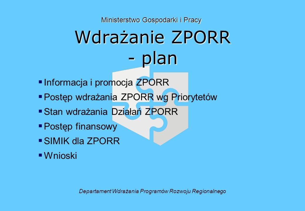 Wdrażanie ZPORR - plan Informacja i promocja ZPORR