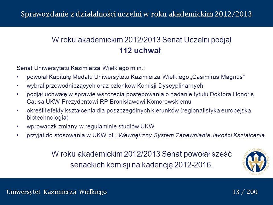W roku akademickim 2012/2013 Senat Uczelni podjął 112 uchwał .