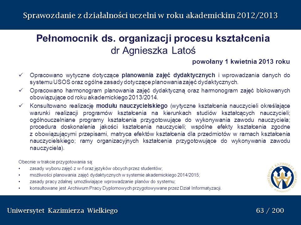 Pełnomocnik ds. organizacji procesu kształcenia dr Agnieszka Latoś