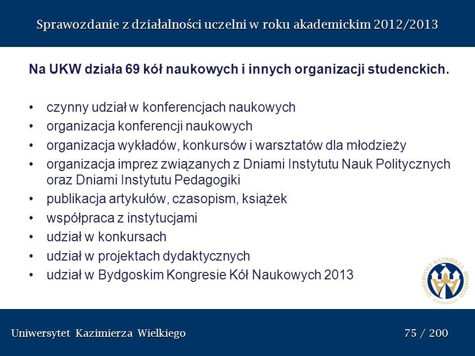 Sprawozdanie z działalności uczelni w roku akademickim 2012/2013