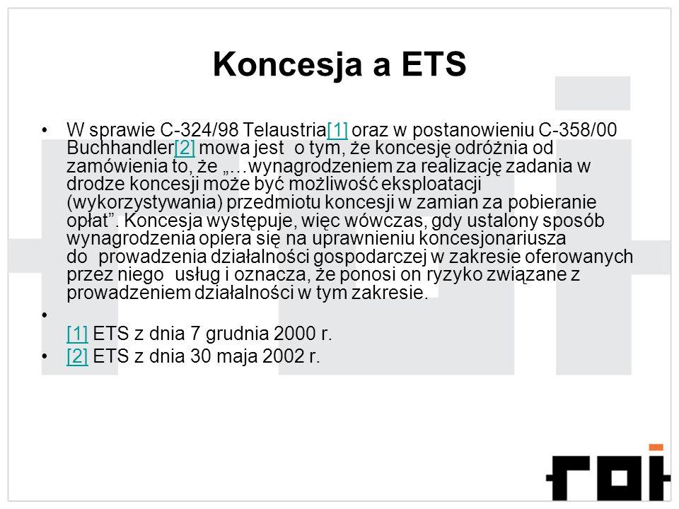 Koncesja a ETS