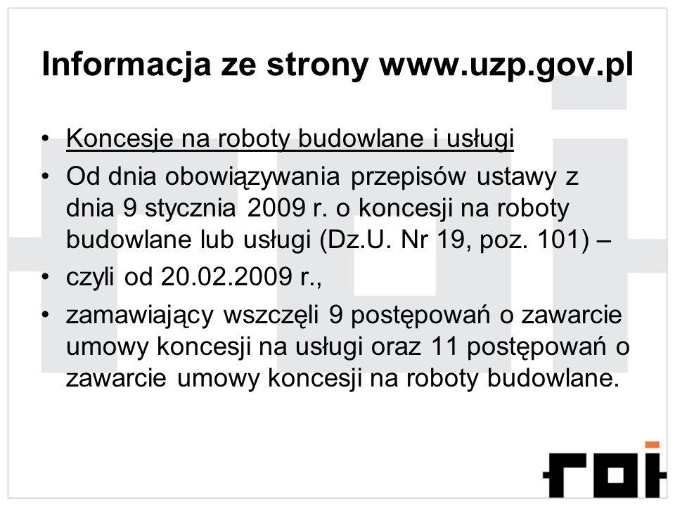 Informacja ze strony www.uzp.gov.pl
