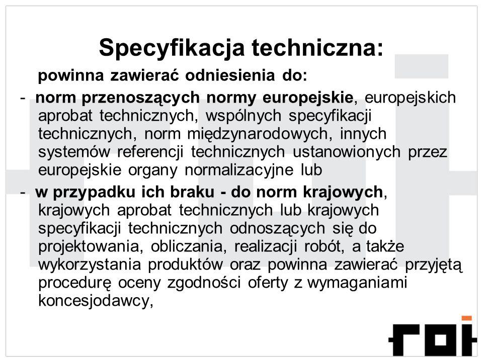 Specyfikacja techniczna: