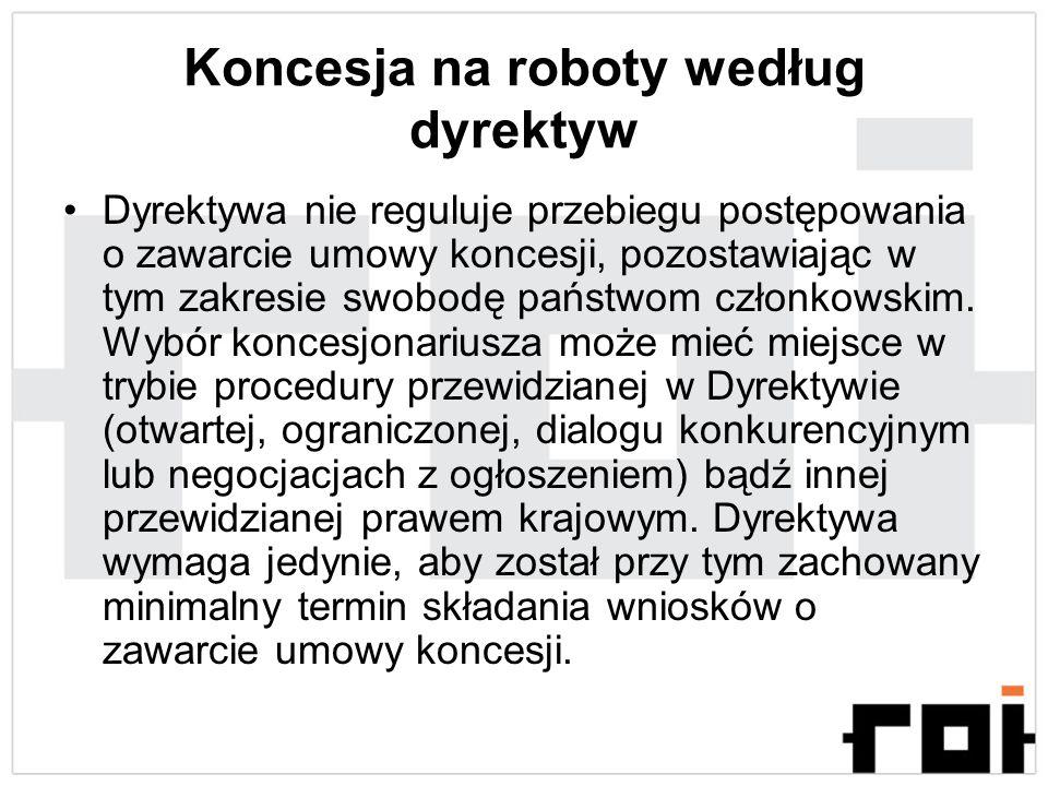 Koncesja na roboty według dyrektyw