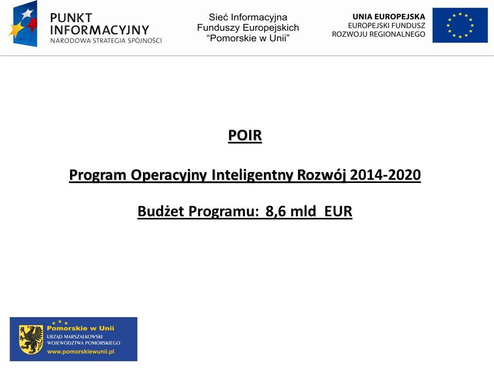 POIR Program Operacyjny Inteligentny Rozwój 2014-2020 Budżet Programu: 8,6 mld EUR