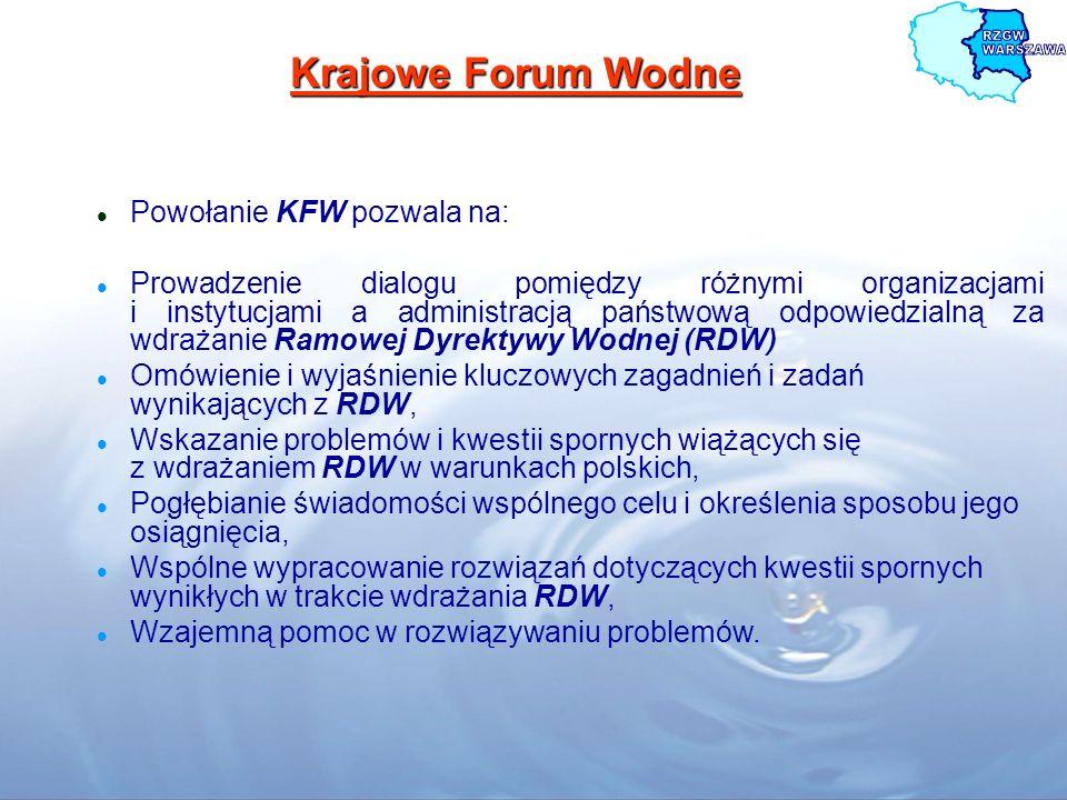 Krajowe Forum Wodne Powołanie KFW pozwala na: