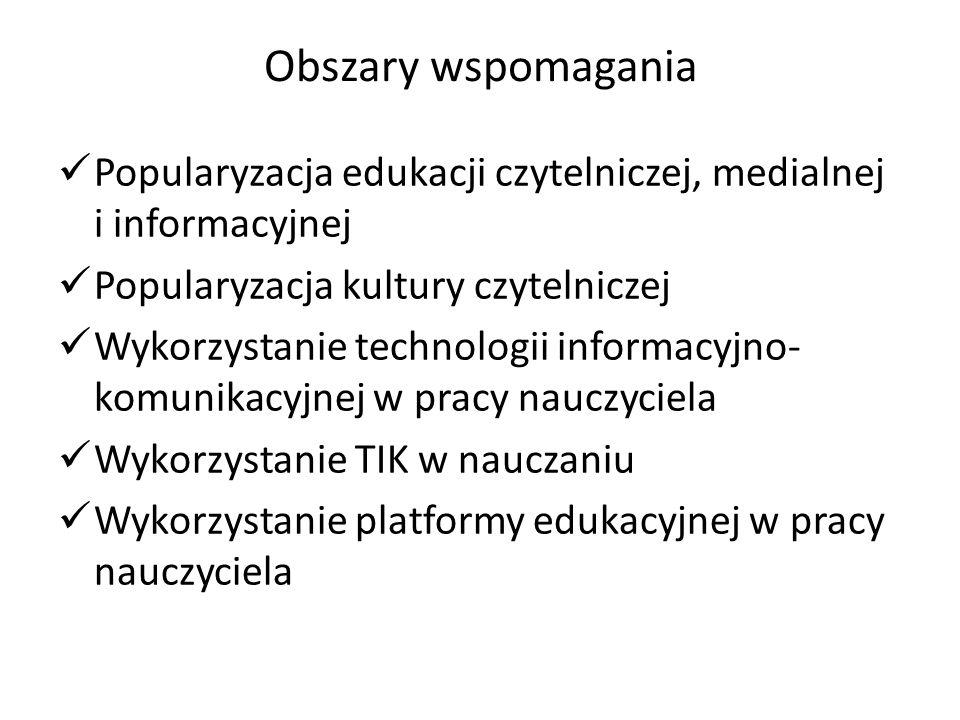 Obszary wspomagania Popularyzacja edukacji czytelniczej, medialnej i informacyjnej. Popularyzacja kultury czytelniczej.