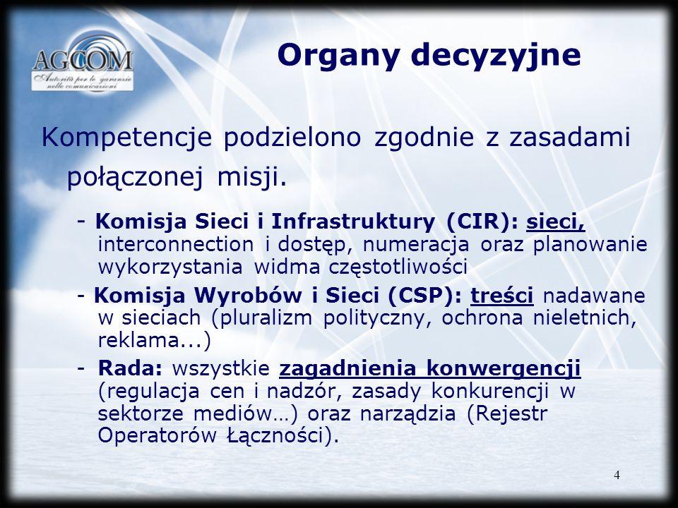 Organy decyzyjne Kompetencje podzielono zgodnie z zasadami połączonej misji.