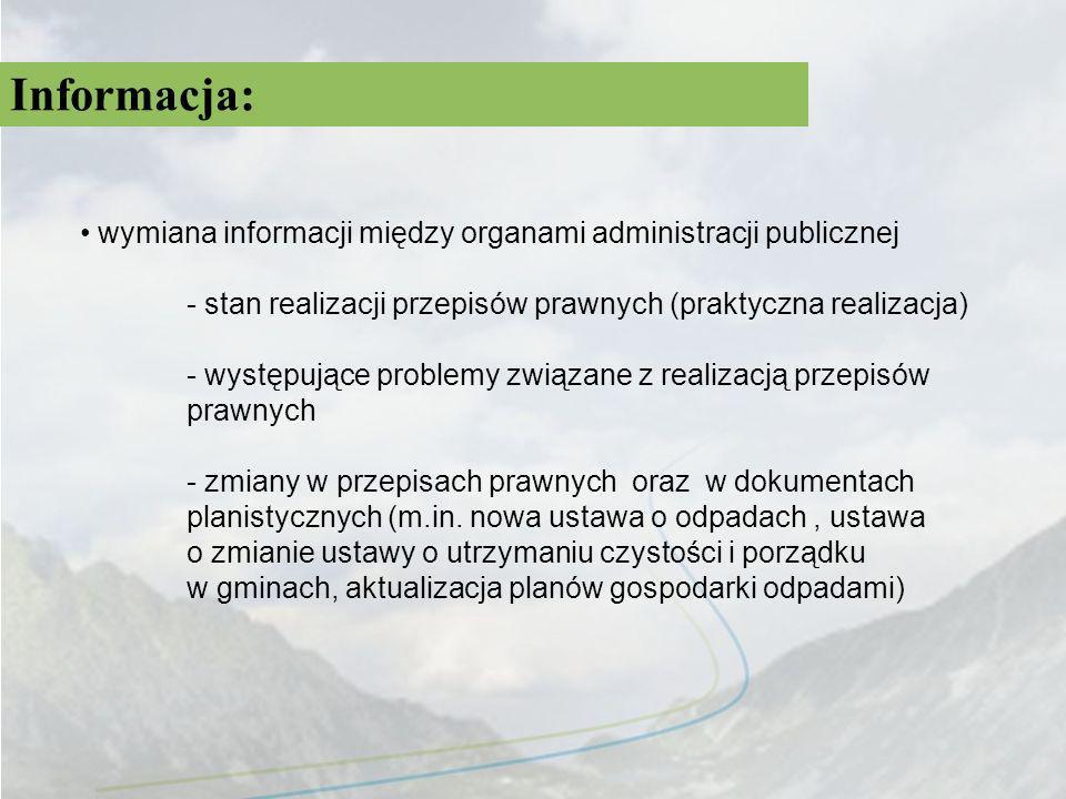 Informacja: wymiana informacji między organami administracji publicznej. - stan realizacji przepisów prawnych (praktyczna realizacja)