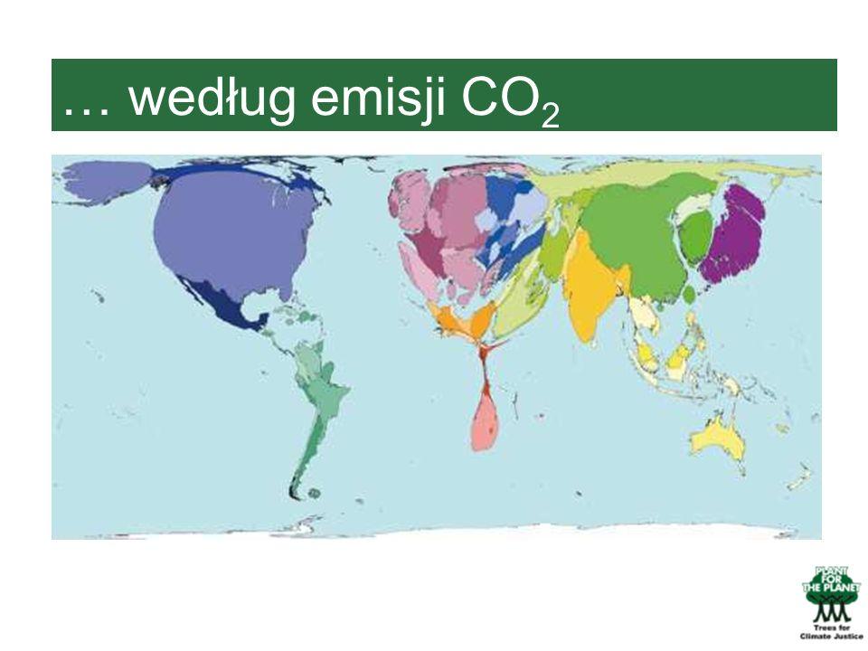 … według emisji CO2 Na tej mapie przedstawione są kraje według emisji CO2.