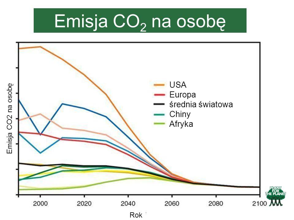 Emisja CO2 na osobę USA Europa średnia światowa Chiny Afryka