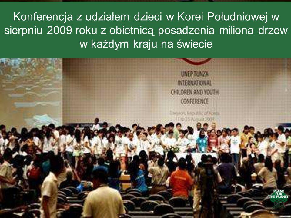 Konferencja z udziałem dzieci w Korei Południowej w sierpniu 2009 roku z obietnicą posadzenia miliona drzew w każdym kraju na świecie