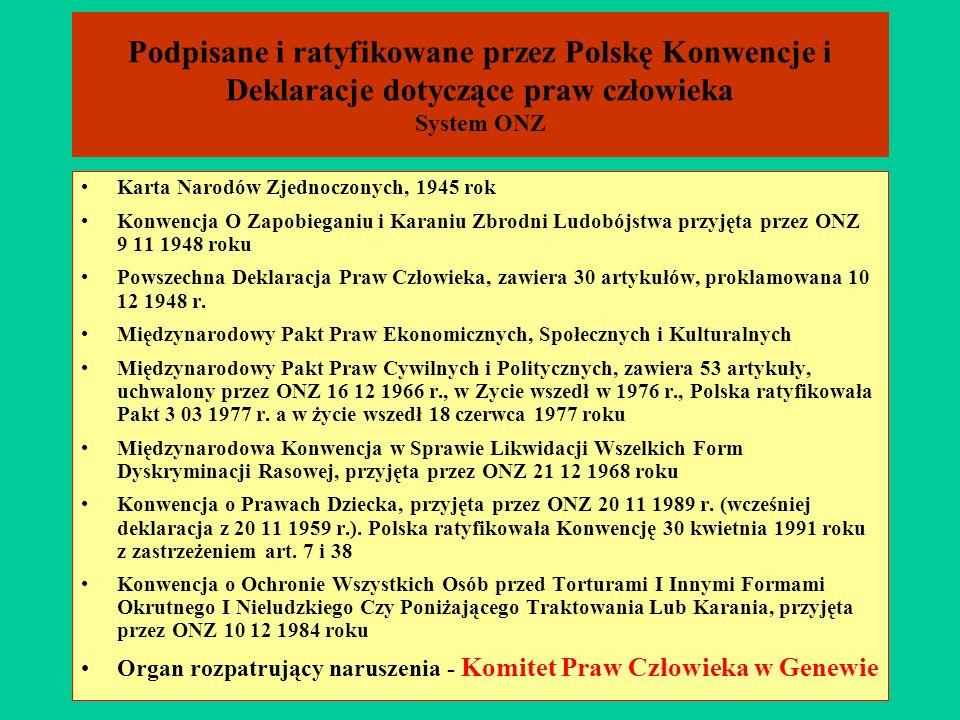 Podpisane i ratyfikowane przez Polskę Konwencje i Deklaracje dotyczące praw człowieka System ONZ