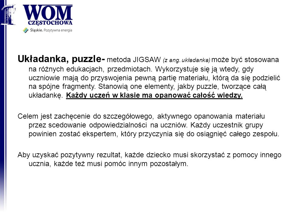 Układanka, puzzle- metoda JIGSAW (z ang