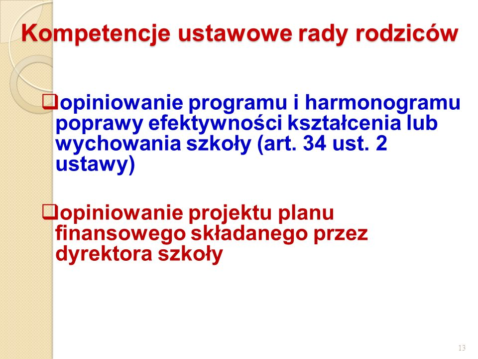 Kompetencje ustawowe rady rodziców
