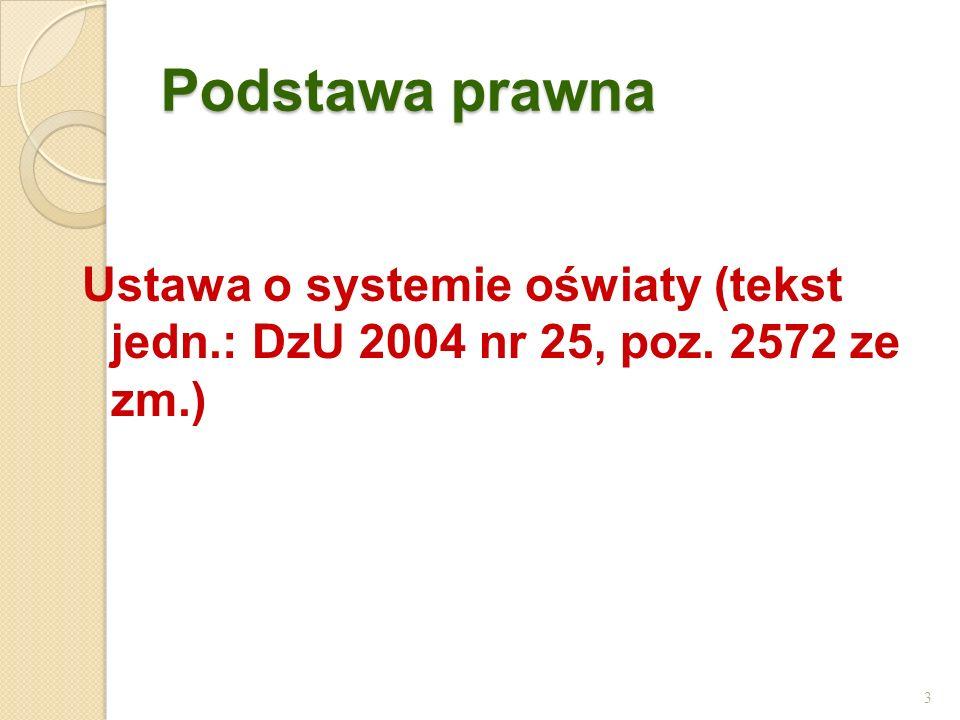 Podstawa prawna Ustawa o systemie oświaty (tekst jedn.: DzU 2004 nr 25, poz. 2572 ze zm.)