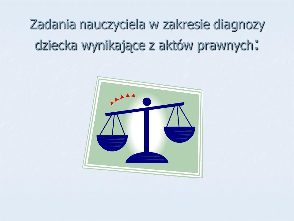 Zadania nauczyciela w zakresie diagnozy dziecka wynikające z aktów prawnych: