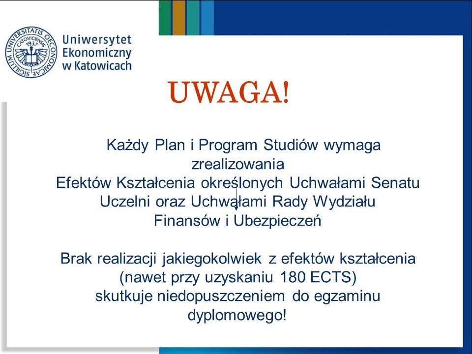 UWAGA! Każdy Plan i Program Studiów wymaga zrealizowania. Efektów Kształcenia określonych Uchwałami Senatu Uczelni oraz Uchwałami Rady Wydziału.