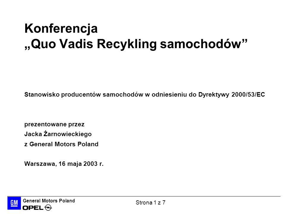 """Konferencja """"Quo Vadis Recykling samochodów"""