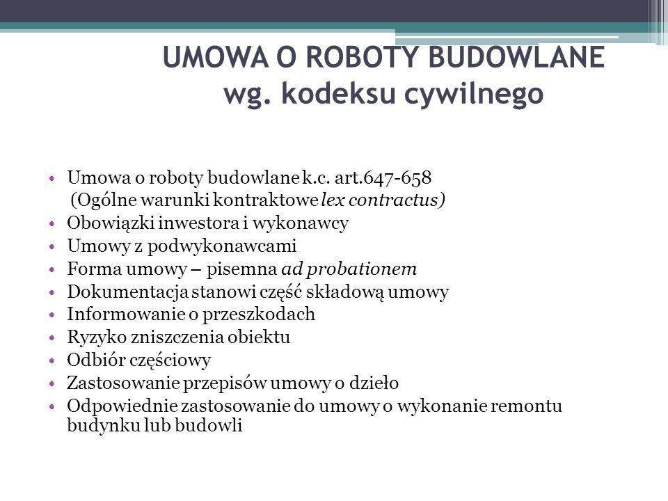 UMOWA O ROBOTY BUDOWLANE wg. kodeksu cywilnego