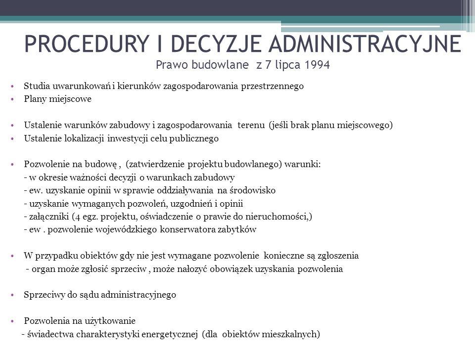 PROCEDURY I DECYZJE ADMINISTRACYJNE Prawo budowlane z 7 lipca 1994