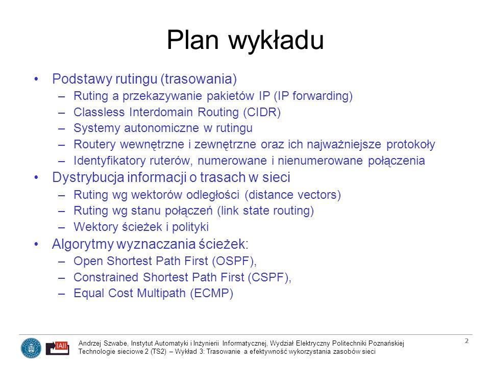 Plan wykładu Podstawy rutingu (trasowania)