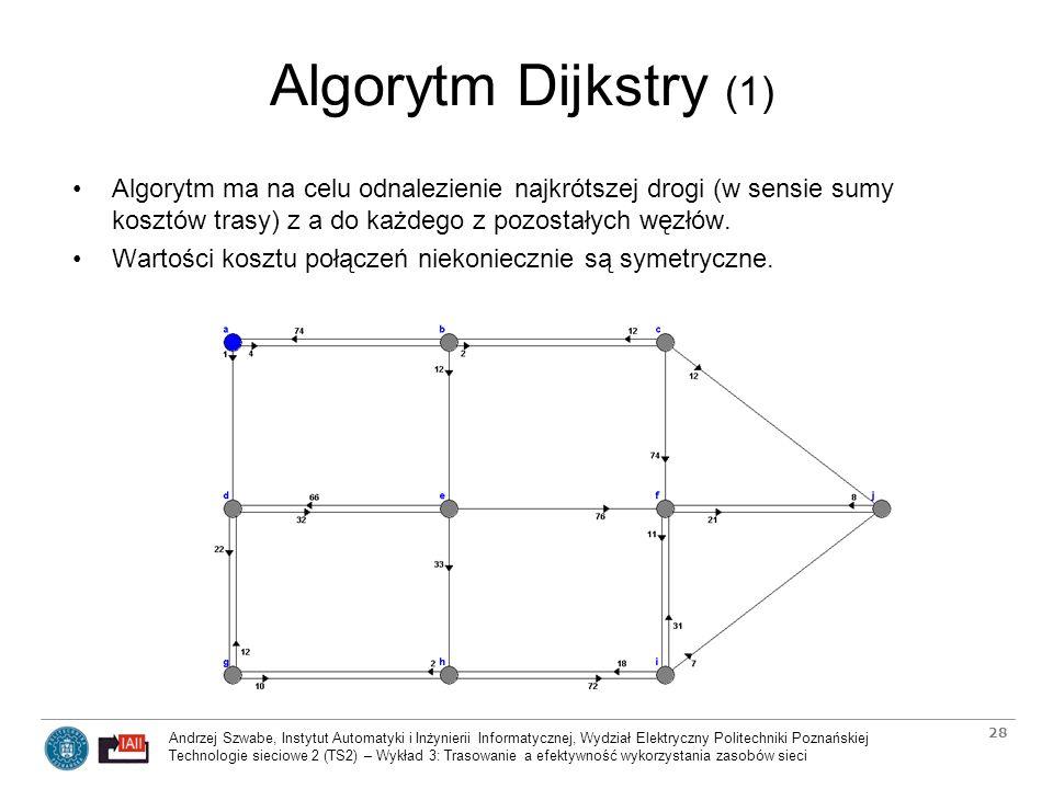 Algorytm Dijkstry (1) Algorytm ma na celu odnalezienie najkrótszej drogi (w sensie sumy kosztów trasy) z a do każdego z pozostałych węzłów.