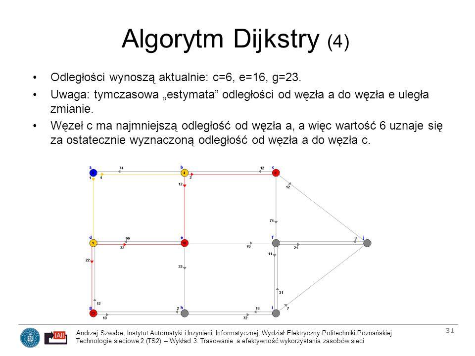 Algorytm Dijkstry (4) Odległości wynoszą aktualnie: c=6, e=16, g=23.