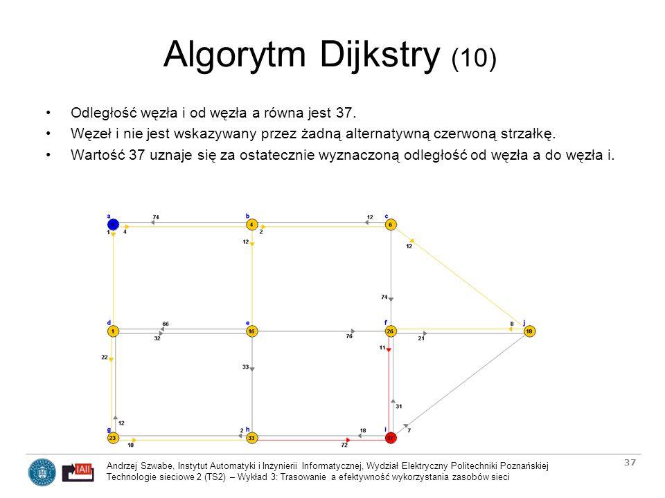 Algorytm Dijkstry (10) Odległość węzła i od węzła a równa jest 37.