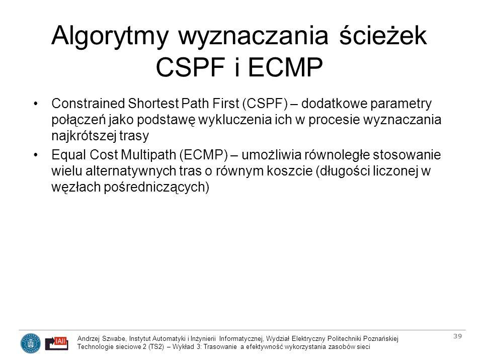 Algorytmy wyznaczania ścieżek CSPF i ECMP
