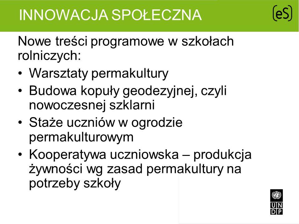 Innowacja Społeczna Nowe treści programowe w szkołach rolniczych: