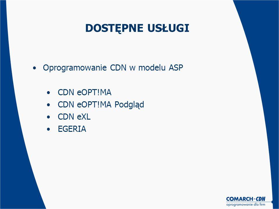 DOSTĘPNE USŁUGI Oprogramowanie CDN w modelu ASP CDN eOPT!MA