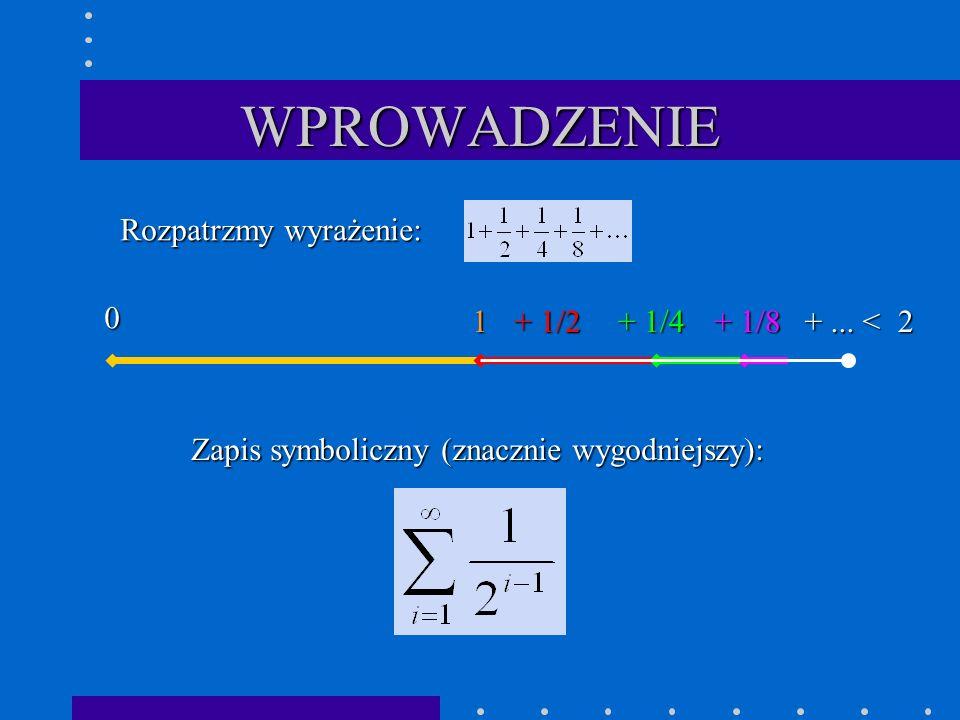 WPROWADZENIE Rozpatrzmy wyrażenie: 1 + 1/2 + 1/4 + 1/8 2 + ... <