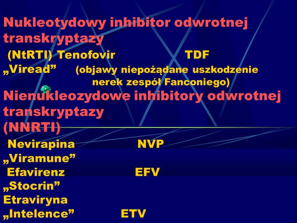 """Nukleotydowy inhibitor odwrotnej transkryptazy (NtRTI) Tenofovir TDF """"Viread (objawy niepożądane uszkodzenie nerek zespół Fanconiego) Nienukleozydowe inhibitory odwrotnej transkryptazy (NNRTI) Nevirapina NVP """"Viramune Efavirenz EFV """"Stocrin Etraviryna """"Intelence ETV"""