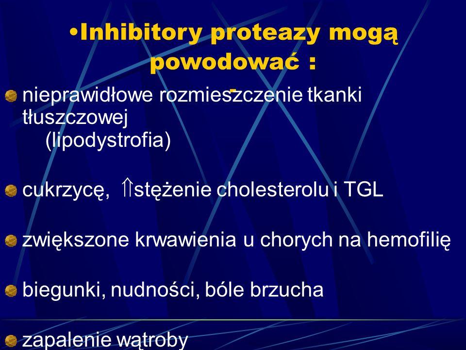 Inhibitory proteazy mogą powodować : -