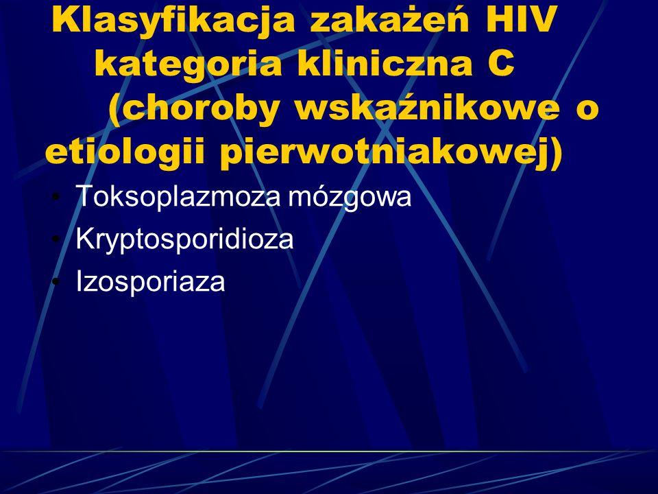 Klasyfikacja zakażeń HIV kategoria kliniczna C (choroby wskaźnikowe o etiologii pierwotniakowej)