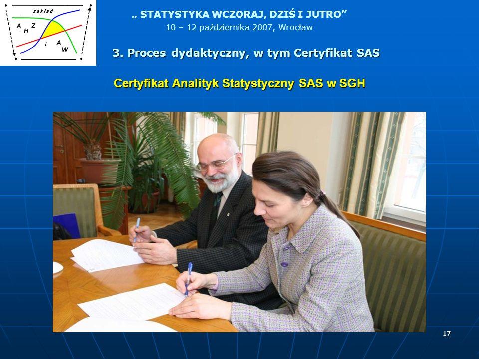 Certyfikat Analityk Statystyczny SAS w SGH