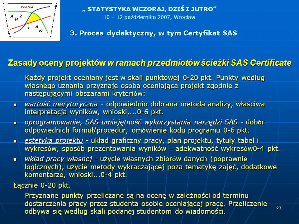 Zasady oceny projektów w ramach przedmiotów ścieżki SAS Certificate