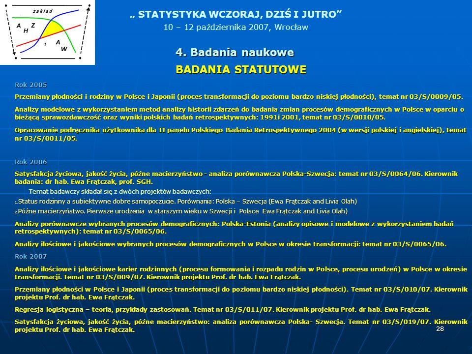 4. Badania naukowe BADANIA STATUTOWE Rok 2005