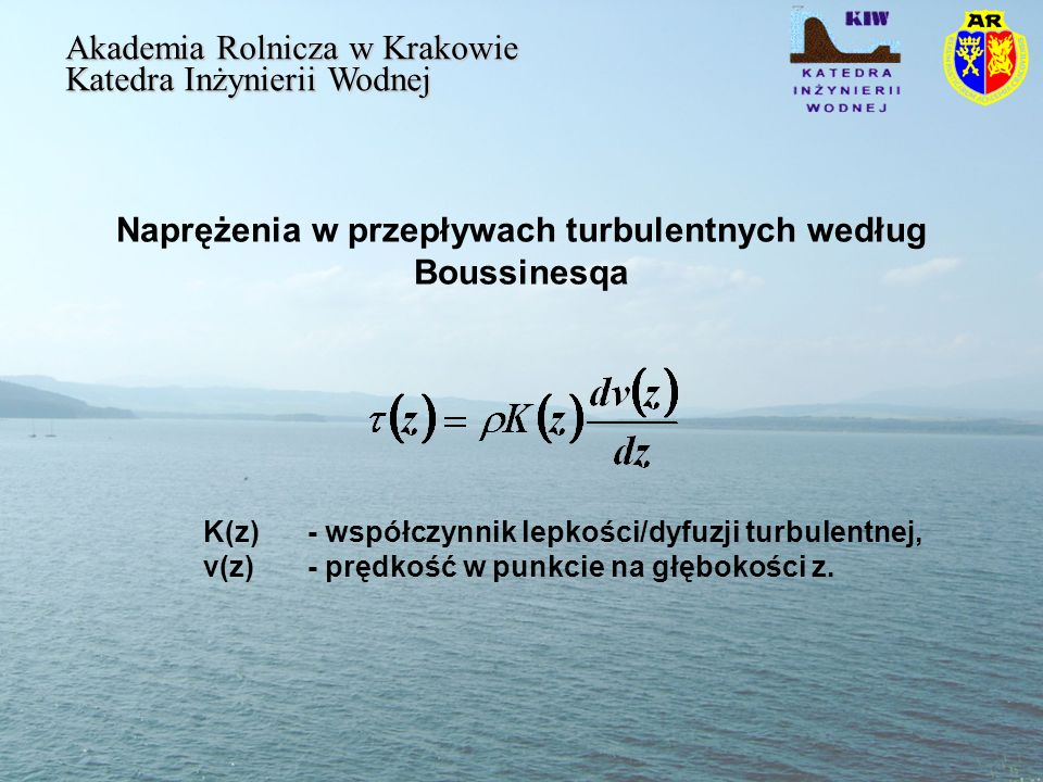 Naprężenia w przepływach turbulentnych według Boussinesqa