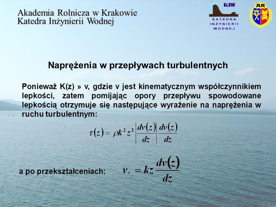 Naprężenia w przepływach turbulentnych