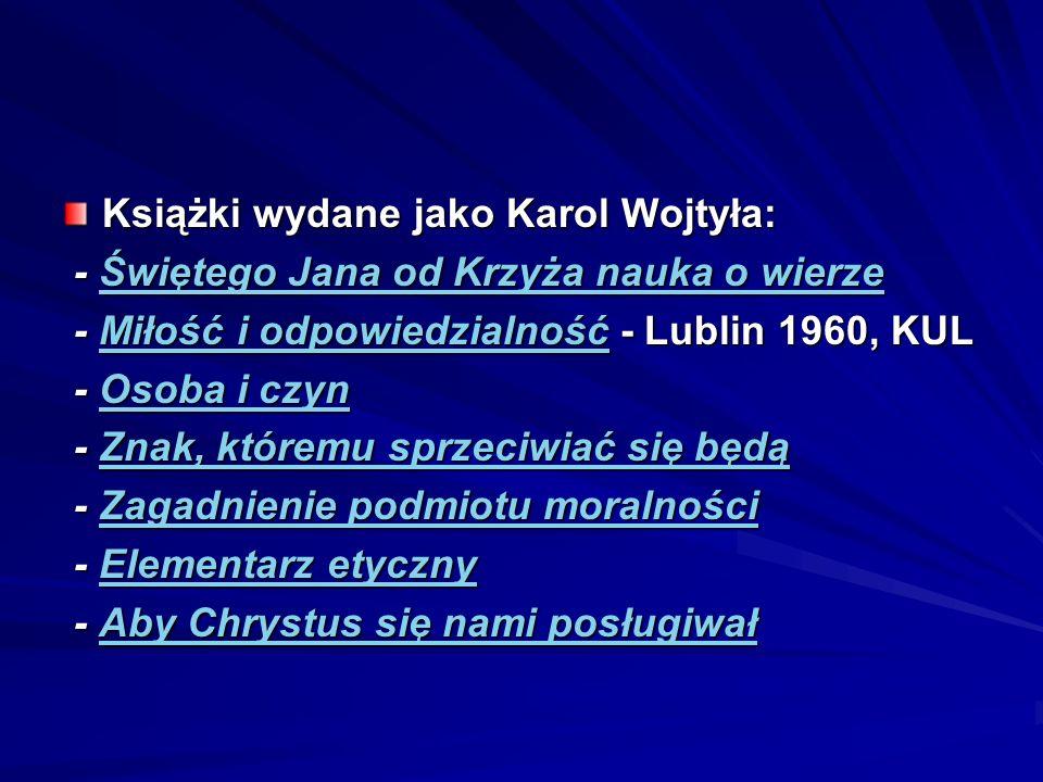 Książki wydane jako Karol Wojtyła: