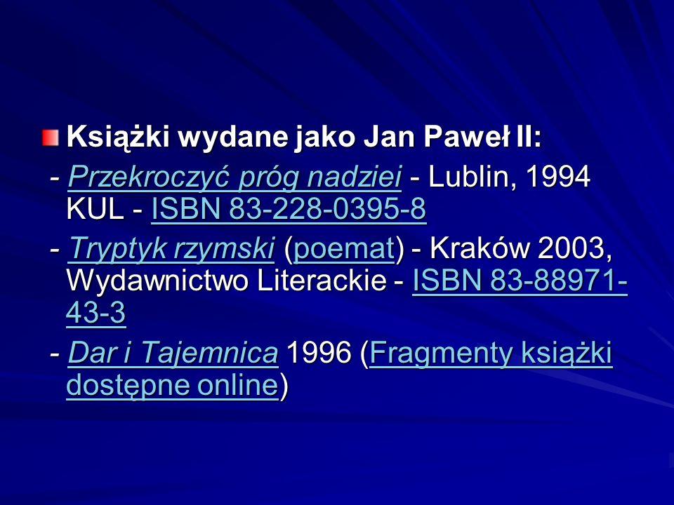 Książki wydane jako Jan Paweł II: