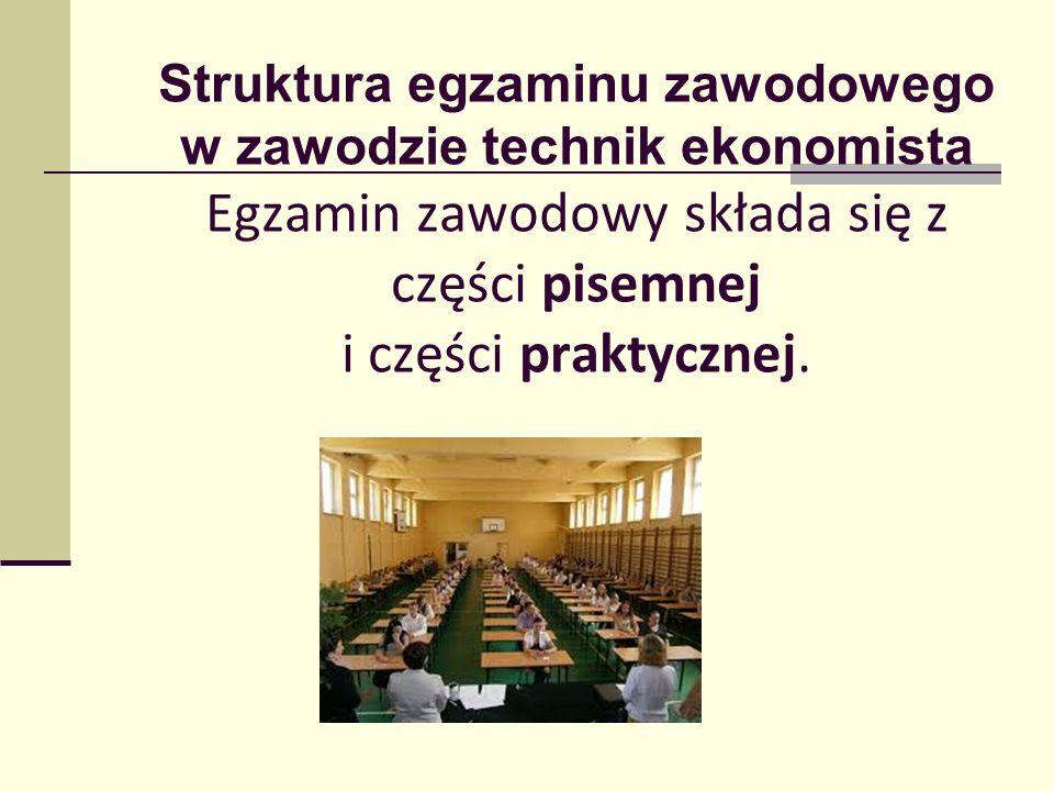 Struktura egzaminu zawodowego w zawodzie technik ekonomista Egzamin zawodowy składa się z części pisemnej i części praktycznej.
