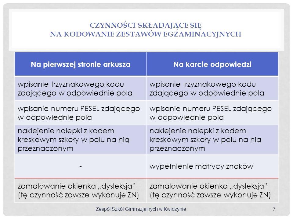 Czynności składające się na kodowanie zestawów egzaminacyjnych