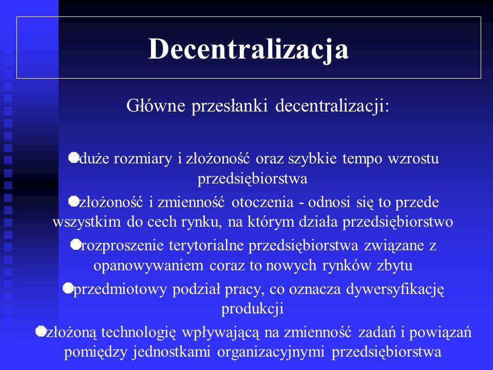 Decentralizacja Główne przesłanki decentralizacji: