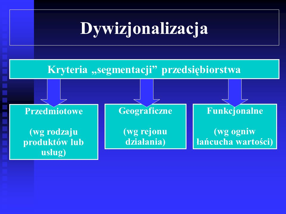 """Dywizjonalizacja Kryteria """"segmentacji przedsiębiorstwa Przedmiotowe"""