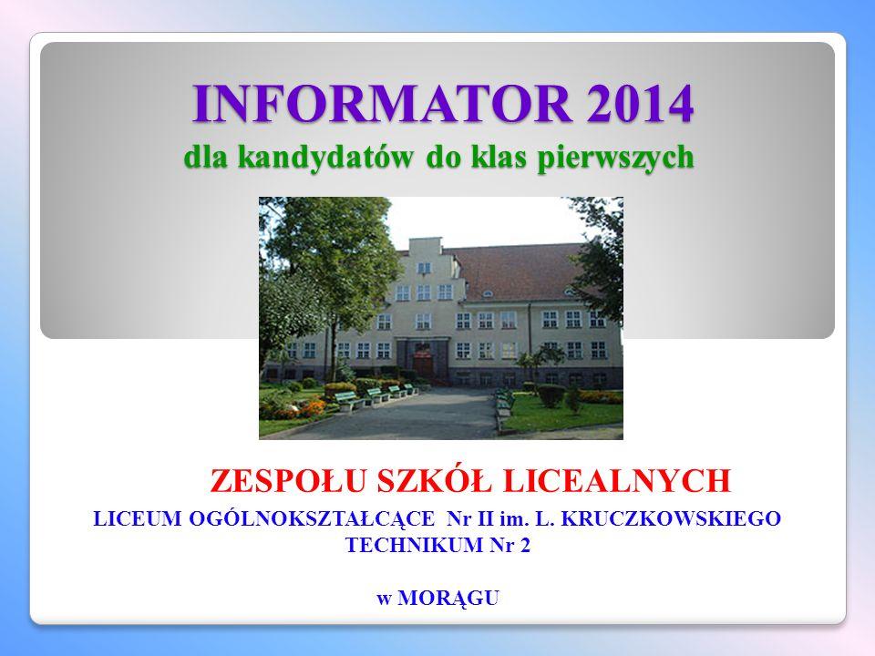 INFORMATOR 2014 dla kandydatów do klas pierwszych