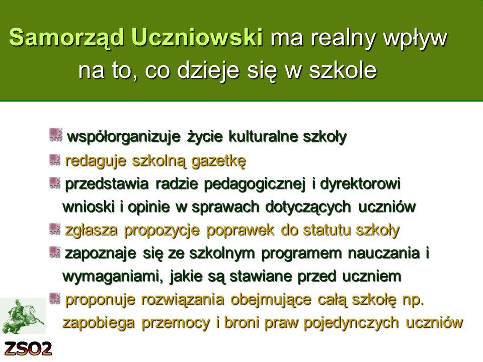 Samorząd Uczniowski ma realny wpływ na to, co dzieje się w szkole