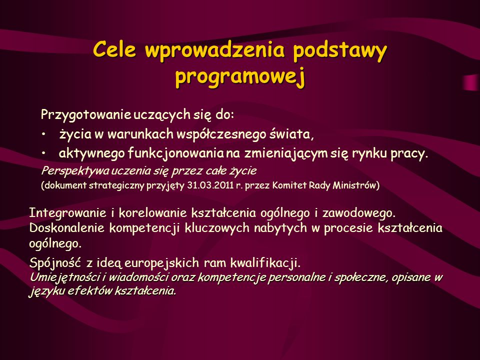 Cele wprowadzenia podstawy programowej